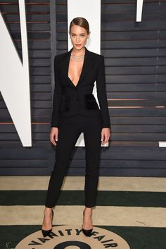 Hannah Davis in a sexy black suit at the Vanity Fair Oscars afterparty
