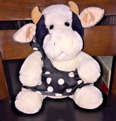VTG Vintage 1987 Dakin Cow with Polka Dot Shoulder Dress Plush Stuffed Animal | Toys & Hobbies, Stuffed Animals, Dakin | eBay!
