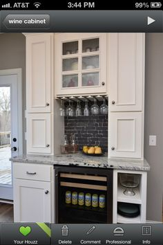 Wine refrigerator with custom built cabinet