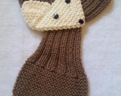 Los niños ajustable banda zorro bufanda tejida a mano bufanda