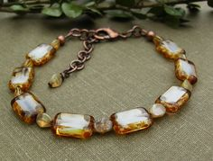 Czech Glass Bracelet, White and Clear Picasso Rectangle, Copper, Stacking, Boho Chic Jewelry, Summer Collection, Fashion Trend, Gift Idea