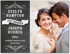 Wedding Announcement Postcards Chalk Finish - Front : White