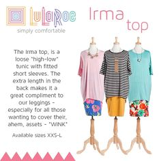 LuLaRoe Irma Top $35. If you love leggings, you need this tunic! Huge inventory! Free shipping $ tax free! Join the group to see my inventory and shop! www.facebook.com/groups/LuLaRoe.Northshore