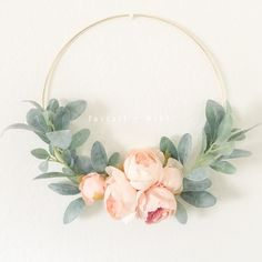 Peach Peony and Lambs Ear Wreath // Nursery Decor // Boho Nursery // Farmhouse Decor // Lambs. Peach Peony and Lambs Ear Wreath // Nursery Decor // Boho Nursery // Farmhouse Decor // Lambs Ear Wreath // Gold Hoop Wreath, Boho Nursery, Lamb Nursery, Gold Nursery Decor, Rustic Nursery, Room Decor, Peach Peonies, Decoration Entree, Diy Decoration, Floral Hoops