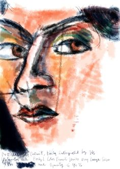 Botticelli Detail (self-portrait). Experiments to emulate watercolor with digital brushes. Americo Gobbo, 2013.
