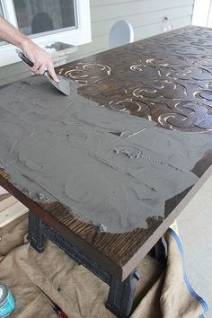 CUSTOM WOOD AND CONCRETE TABLE TOP by Kara Paslay Designs Furniture Projects, Furniture Makeover, Painted Furniture, Diy Furniture, Diy Projects, Into The Woods, Concrete Table Top, Concrete Slab, Table Beton