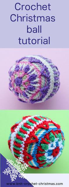 Crochet Christmas bauble tutorial. Overlay crochet.