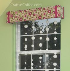 How to make your own custom window cornices using foam & fabric. So easy and inexpensive. Beaded curtain tutorial, too.