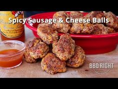 Spicy Sausage & Cheese Balls on the Traeger Grill Sausage Cheese Balls, Hot Sausage, Spicy Sausage, Cheese Ball Recipes, Appetizer Recipes, Appetizers, Grilling Recipes, Cooking Recipes, Smoker Recipes