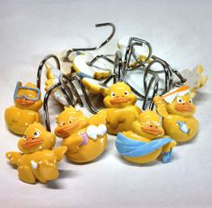 12 Duckling Yellow Rubber Ducky Duck Shower Curtain Hooks Rings Cute Set  $19.99 Free Shipping
