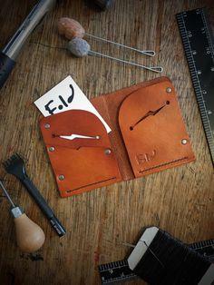 Handmade Leather Wallet, mens leather wallet, Tan wallet.