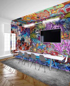 Home Gym Design, Office Interior Design, Interior Exterior, Home Office Decor, Office Interiors, House Design, Graffiti Wall, Street Art Graffiti, Wall Murals