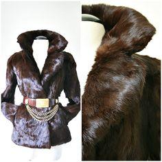 vintage CHOCOLATE LUX brown rabbit fur coat size S/M by PasseNouveauVintage, $100.00