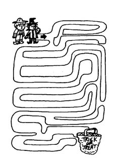 View and print this Maze Trick Or Treat. Get your free printable mazes at All Kids Network Halloween Labyrinth, Halloween Maze, Halloween Crafts For Kids, Holidays Halloween, Preschool Halloween, Halloween Stuff, Halloween Party, Printable Mazes, Printables