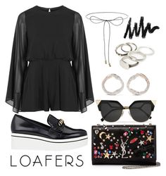 """""""Fall Footwear Trend: Loafers"""" by may-calista ❤ liked on Polyvore featuring Lilou, STELLA McCARTNEY, Topshop, Yves Saint Laurent, Monica Vinader, Fendi, Werkstatt:München, outfit, chic and black"""