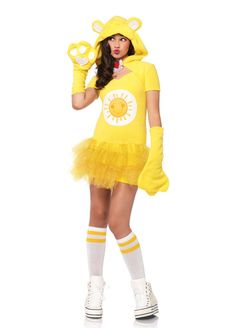 "Teen Sunshine Care Bear Teen Costume - Our Sunshine Care Bear costume will have you singing ""You are my sunshine, my only sunshine"". Show your teen how much you love her with our Sunshine Care Bear Officially Licensed costume. Cute and cuddly, yet fun and sassy, this costume is perfect for the girl who knows who she is.  Ideal for Halloween, role play, cartoon or character events, and other special occasions. #carebears #yyc #teen #calgary #costume"