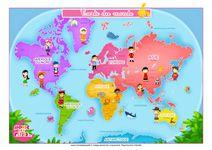 Carte du monde pour les enfants + cartes continents, ludique, coloré