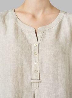 Partial placket shirt. Linen Split Neck Long Tunics