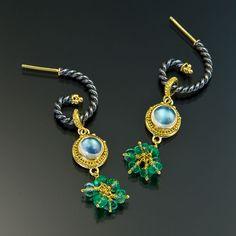 oxidized sterling silver 22kt gold granulation moonstone by jewelry designer Elizabeth Gualtieri - Zaffiro Jewelry