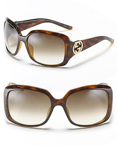 Gucci Rectangle Sunglasses with New Logo Temple