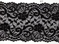 2yards black Floral Stretch Lace Trim 57/8 Wide  by WellTrimmed, $3.99