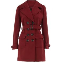 Brick red belted trench coat