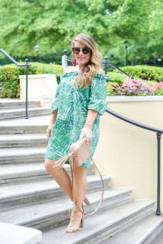 Palm Green Off the Shoulder Dress by NC fashion blogger Amy of Coffee Beans and Bobby Pins - click through for more of this summer outfit idea! | palm print dress | off the shoulder dress outfit | how to style an off the shoulder dress | how to wear an off the shoulder dress | summer date night outfit | casual summer outfit