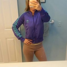 Adidas Throwback Jacket BRAND NEW! This is in excellent condition. Worn once.  Zipper is perfect. Purple and Teal. Adidas Jackets & Coats
