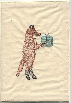 Coral and tusk - fox with present, embroidery on 100% natural cotton stitched to a handmade paper card.