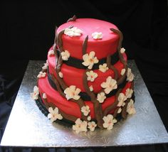 Red and black oriental style with cherry blossoms | Giggy's Cakes and Sweets | Flickr