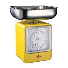 Wesco Retro Scales with Clock - Lemon Yellow - kitchen scales