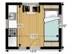 Tiny Camping House Plans | b2bcabin floor plan 600x450 Back to Basics B2B Tiny Cabin