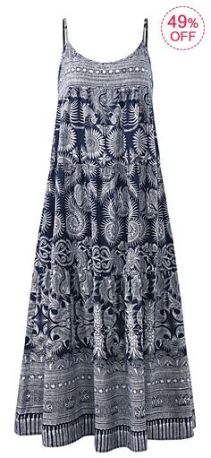 [ UP TO 49% OFF ] Vintage Spagehtti Strap Ethnic Printed Dresses For Women. Cotton soft material. Ankle-Length Dresses.