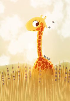 Kids Art - Savannah - Cute Giraffe, Orange, Children's, Print for Nursery, Children Decor, Kids Wall Art 13x19