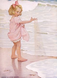 Jessie Willcox Smith~Book Illustration~ A lovely image from esteemed American illustrator Jessie Willcox Smith, best known for her illustrations of idealized children. Smith painted the covers for Good Housekeeping magazine for 15 years, but this little girl enjoying a day at the beach is from the 1910 book A Child's Book of Old Verses.
