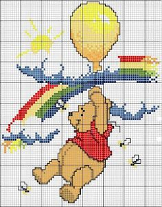 Cross-stitch Pooh Bear... no color chart available, just use pattern chart as your color guide.. or choose your own colors... ENCANTOS EM PONTO CRUZ