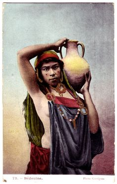 Africa: Vintage photo, Berber girl carrying water, Morocco