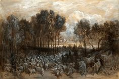 Gustave Doré - Gathering of the herd in the Bois de Boulogne