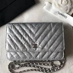 2d94b2ac976349 Chanel Aged Metallic Silver Calfskin WOC Wallet on Chain Bag 2018 Chanel Woc,  Chanel Bags