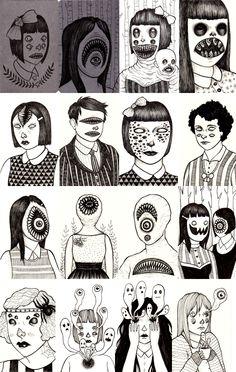 battling evil in another dimension! Drawing Sketches, Art Drawings, 7 Arts, Horror Art, Art Sketchbook, Cool Artwork, Dark Art, Doodle Art, Art Inspo