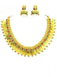 Temple Inspired Necklace Set With Green & Red Colored Stones To Compliment You On Your Attire