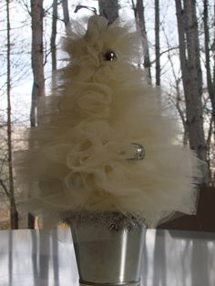 Whimsy Wendy tulle Christmas tree. It's in a bucket!