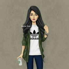 Image may contain: 1 person Beautiful Girl Drawing, Cute Girl Drawing, Cartoon Girl Drawing, Girl Cartoon, Girly M, Best Friend Drawings, Girly Drawings, Lovely Girl Image, Girls Image