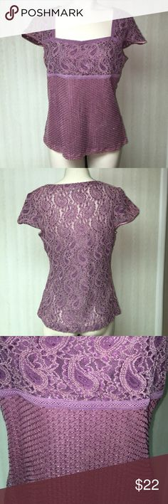 Lace and sequence top Lace and sequence top with cap sleeve and square neckline. Size large. Never worn. Beautiful purple/ raspberry color. Lace bust is lined. Tops