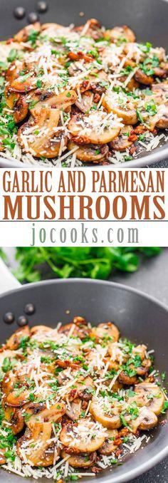 Sauteed Garlic and Parmesan Mushrooms