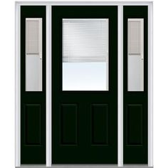 Milliken Millwork 64.5 in. x 81.75 in. Classic Clear RLB Glass 1/2 Lite 2 Panel Painted Majestic Steel Exterior Door with Sidelites, Hunter Green