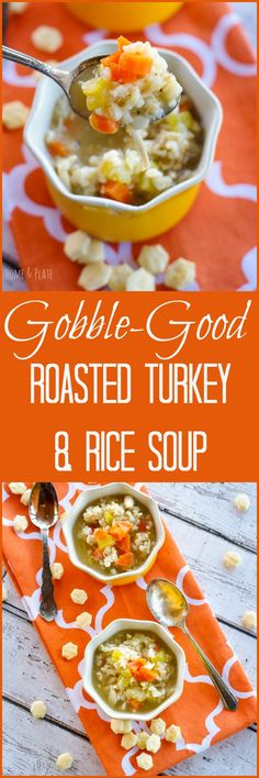 Gobble-Good Roasted Turkey & Rice Soup   www.homeandplate.com   This soup is filling and hearty and makes great use of leftover turkey in a way that's healthy and low calorie.