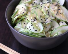 (Gluten Free) Japanese Salad translation: 3 cucumber ½ tablespoon sesame oil 2 tablespoons rice vinegar 1 teaspoon sugar 1 teaspoon sesame seeds 1 pinch salt