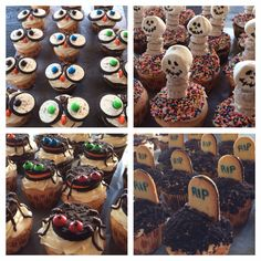 Halloween cupcakes: owls, skeletons, spiders, and gravestones Halloween Cupcakes, Skeletons, Spiders, Owls, Cake Decorating, Muffin, Decoration, Breakfast, Desserts