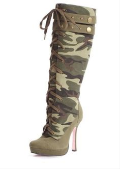"SERGEANT- 4.5"" Canvas camouflage knee high lace up boot with .75"" platform, star accents, and inner zipper."